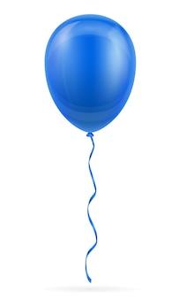 Ballon bleu de célébration pompé à l'hélium avec ruban sur blanc
