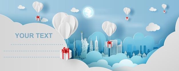 Ballon boîte cadeau sur la ville de new york