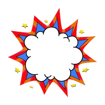 Ballon de boom comique. bulle de dialogue vide bleu et rouge dans un style pop art.