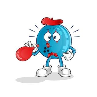 Ballon de bowling pantomime soufflant personnage de ballons. mascotte de dessin animé