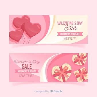 Ballon et cadeau bannière de vente de valentine
