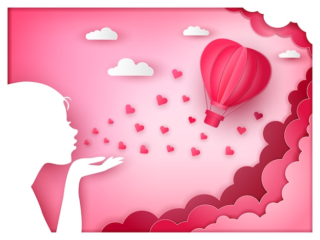 Ballon de coeur avec cadre de forme de femme embrasser et souffler style de papier d'art de fond rose