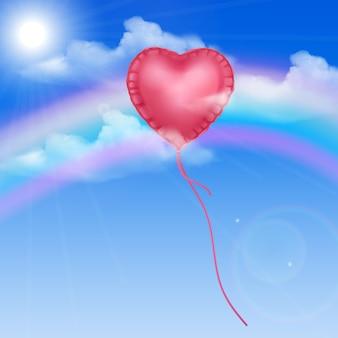 Ballon Coeur Dans Le Ciel Bleu Vecteur Premium