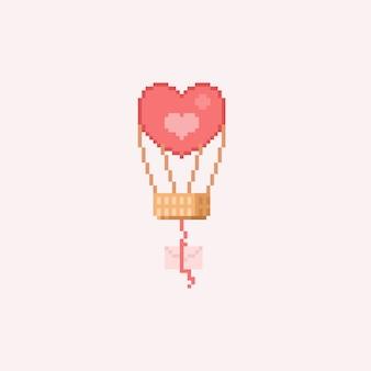 Ballon coeur pixel avec lettre
