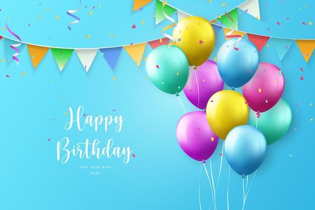 Ballon coloré et ruban joyeux anniversaire célébration carte bannière arrière-plan du modèle
