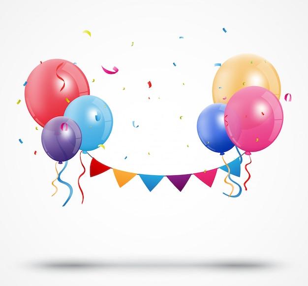 Ballon avec des confettis et des drapeaux de bruant d'anniversaire