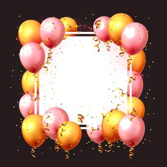 Ballon festif dans un cadre vide, couleur or et rose. illustration vectorielle