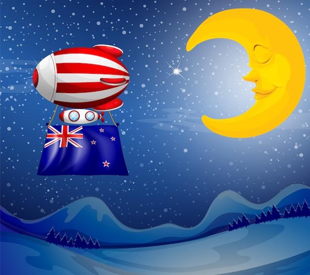 Un ballon flottant avec le drapeau de la nouvelle-zélande