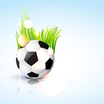 Ballon de foot sur bleu clair