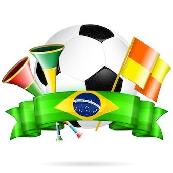 Ballon de foot et drapeaux sur blanc