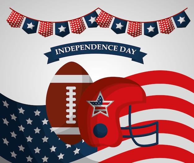 Ballon de football américain casque boule fanion drapeau fête de l'indépendance