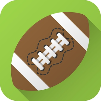Ballon de football américain en cuir jouet au design plat avec ombre portée icône illustration vectorielle