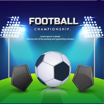 Ballon de football avec des boucliers vierges, fond de terrain de football de nuit.