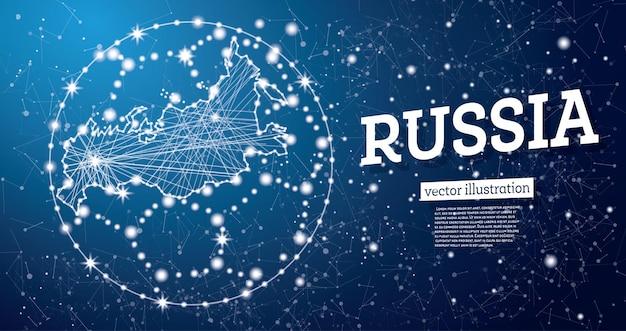 Ballon de football avec carte de la russie sur fond bleu. illustration vectorielle.