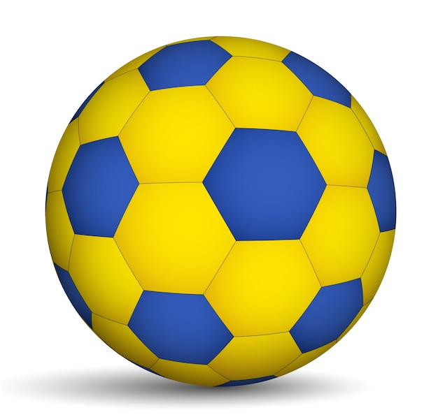 Ballon de football de couleur bleu-jaune