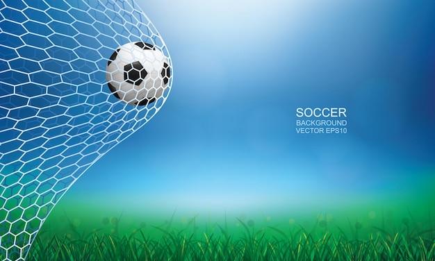 Ballon de football dans le but. ballon de football et filet blanc avec arrière-plan flou flou clair. illustration vectorielle.