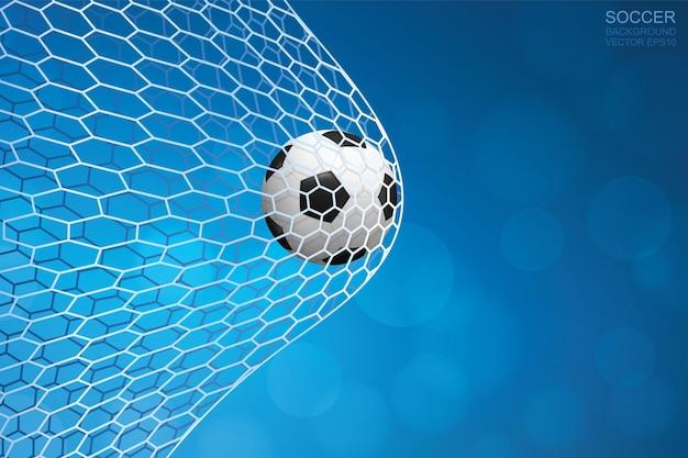 Ballon de football dans le but. ballon de football et filet blanc sur fond bleu. illustration vectorielle.