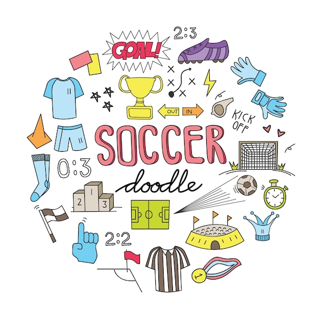 Ballon de football doodle set vector illustration