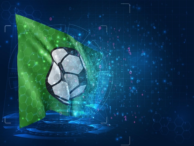 Ballon de football, drapeau 3d vectoriel sur fond bleu avec interfaces hud