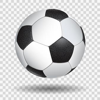 Ballon de football réaliste détaillé élevé sur fond transparent