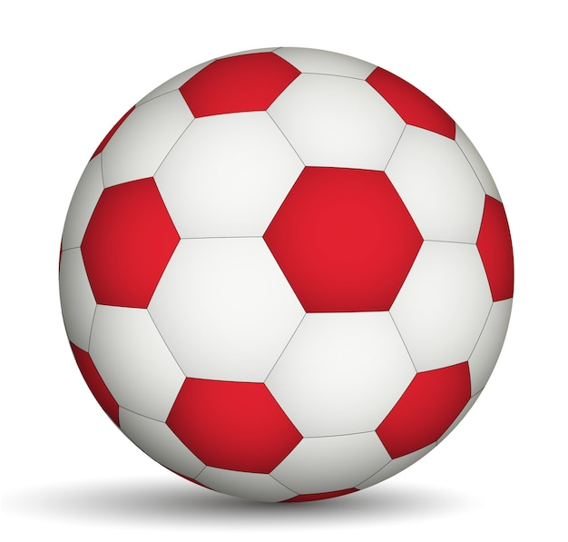 Ballon de football rouge- de couleur blanche