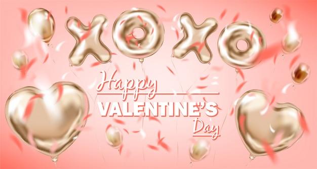 Ballon en forme de coeur en feuille d'or rose et symbole de xoxo doré