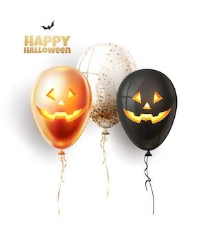 Ballon d'halloween de vecteur avec des visages effrayants et effrayants