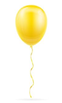 Ballon jaune de célébration pompé à l'hélium avec ruban sur blanc
