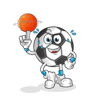 Ballon jouant au basket-ball mascotte illustration