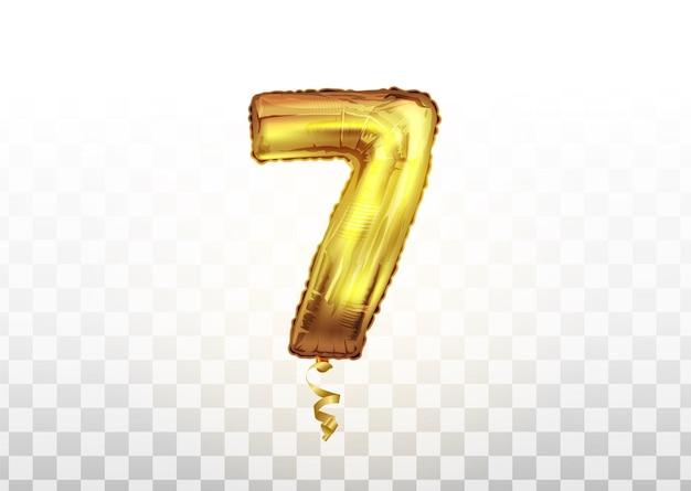 Ballon métallique numéro sept d'or. ballons d'or de décoration de vecteur de partie. signe d'anniversaire pour joyeuses fêtes, célébration, anniversaire, carnaval, nouvel an.