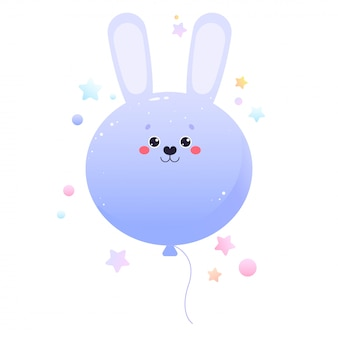 Ballon mignon lapin lièvre kawaii. animal isolé