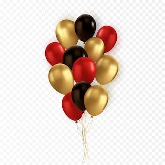 Ballon noir rouge or réaliste de vecteur sur fond transparent