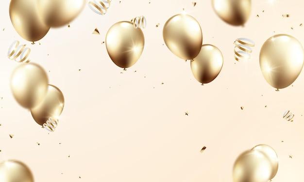 Ballon d'or célébration fond ballons festifs illustration en format vectoriel