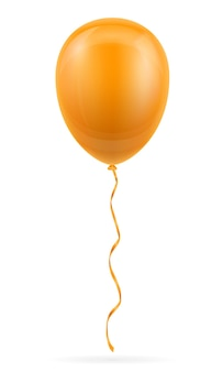 Ballon orange de célébration pompé à l'hélium avec ruban sur blanc