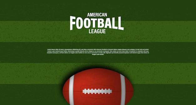 Ballon ovale 3d de rugby ou de football américain sur la vue de dessus du stade de champ vert pour le modèle d'affiche de flyer super bowl de championnat de tournoi