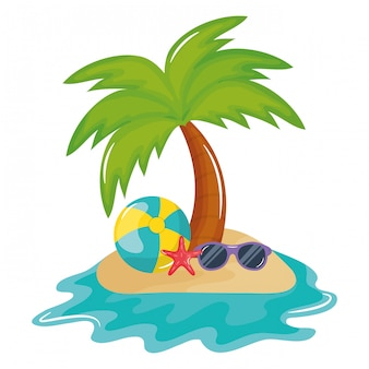 Ballon de plage avec accessoire de lunettes de soleil