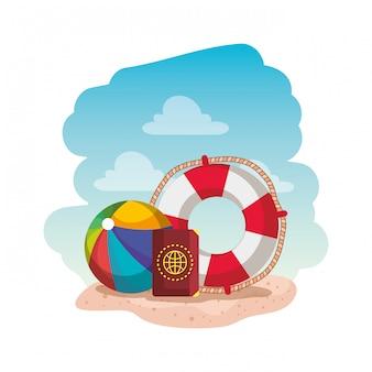 Ballon de plage avec flotteur et passeport