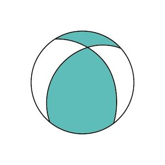 Ballon de plage de style doodle. sports d'été, activité de plage. illustration simple isolée sur fond blanc. icône de l'été