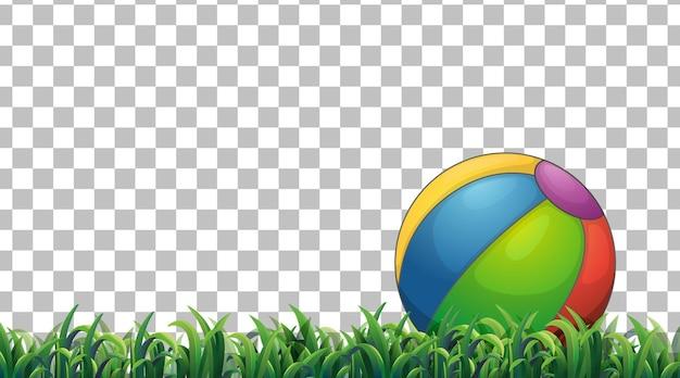 Ballon de plage sur le terrain en herbe sur fond transparent