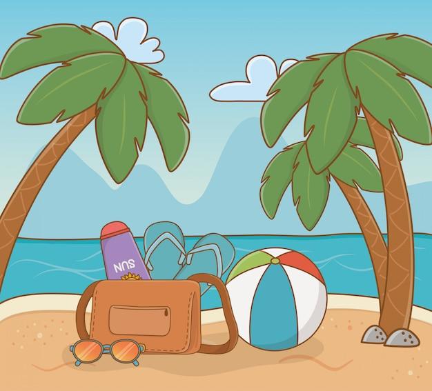 Ballon en plastique et articles de vacances sur la plage