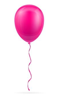 Ballon rose de célébration pompé à l'hélium avec ruban sur blanc