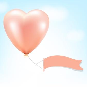 Ballon rose avec drapeau bannière et ciel avec filet dégradé