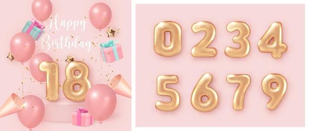 Ballon rose girlsih élégant célébration de joyeux anniversaire présente boîte-cadeau party popper et ensemble de texte de nombre d'or