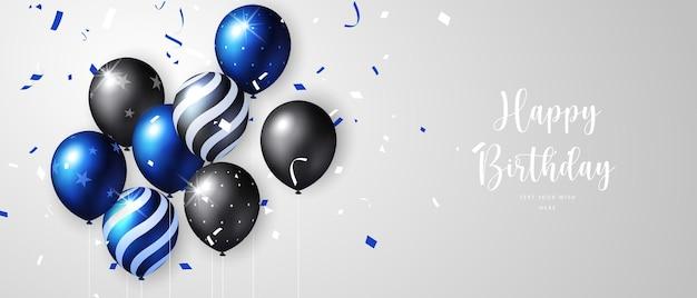 Ballon et ruban de motif de point d'étoile de bande noire bleue vive et arrière-plan de modèle de bannière de carte de célébration de joyeux anniversaire