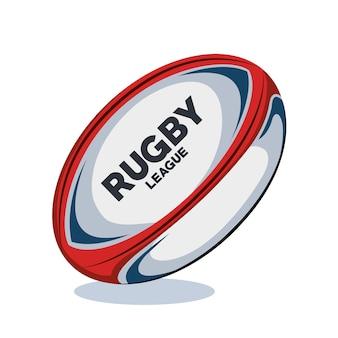 Ballon de rugby design rouge, blanc et bleu