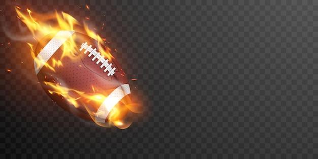 Ballon de rugby en feu