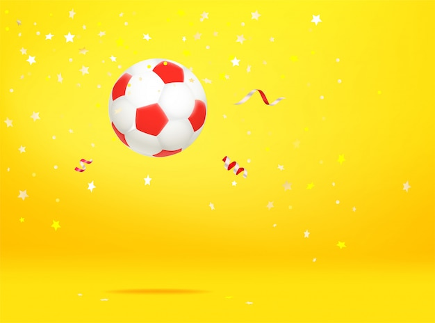 Ballon de soccer avec des confettis. le concept gagnant