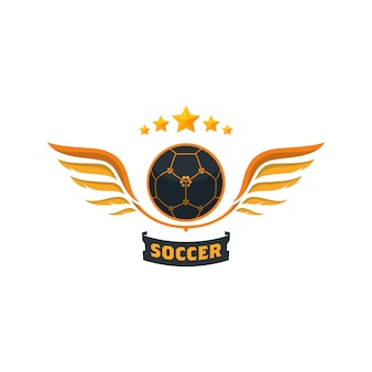 Ballon de soccer créatif avec ailes et étoiles - logo template