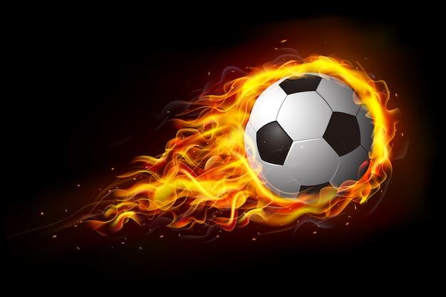 Ballon de soccer en feu, match de football chaud