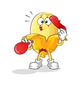 Le ballon soufflant de la pantomime de la banane. mascotte de dessin animé